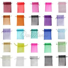 "100 Strong Organza Pouch 3.5x4.7"" 9x12cm Wedding Favor Gift Candy Bag Colors"