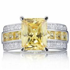 Jewelry Topaz 18K Gold Filled Men&Women'sFashion Engagement Ring Gift Size 7-11