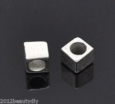 Wholesale Lots DIY Jewelry Spacers Beads FindingsSilver Tone Tiny Cube