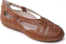 Padders DELTA Ladies Womens Leather Casual Slip On Summer Flat Shoes Tan