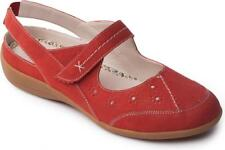 Padders DONNA Ladies Womens Leather Extra Wide Velcro Slingback Casual Shoes Red