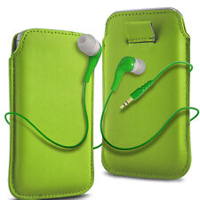 Green PU Leather Pull Tab Flip Case Cover & Earbud Earphone for Mobile Phones