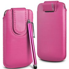 Pink Magnetic PU Leather Pull Tab Flip Case Cover & Stylus for Mobile Phones