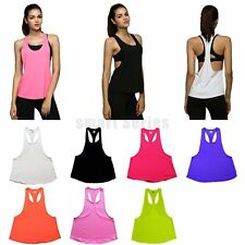 Women Sleeveless Tank Vest Gym Active Stretch Sports Loose Quick Dry Top Shirts