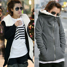Ladies Fleece Long Sleeve Coat Hooded Hoodie Jacket Sweater Outwear Sweatshirt