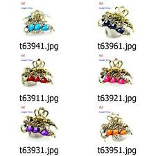 t639m11 6 Colors Peacock Fashion Rhinestone Hair Crab clamp claws Clip hairpin
