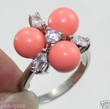 8mm Coral Pink South Sea Shell Pearl CZ Crystal Sterling Silver Ring Size 7/8/9