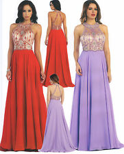 Chiffon Long Ball Gown Formal Dress Party Gala Prom Evening Pageant Beading 4-12
