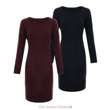 LADIES WOMENS ROUND NECK LONG JUMPER WIDE HEM KNITTED KNIT RIBBED PULLOVER DRESS