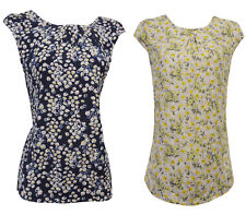 New Retro 1930's 40's Wartime Ditsy Floral Button Back Blouse in Blue or Yellow