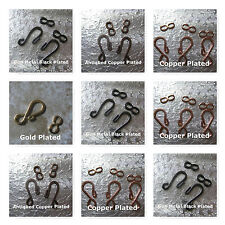 Hook and Eye Clasps Gold Copper Gun Metal Plated Necklace Bracelet Findings