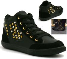 Womens Casual Hi Top Trainers Flat Lace Up Plimsolls Sneakers Gym Pumps Walking