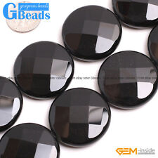 """Natural Black Agate Gemstone Onyx Faceted Coin Beads For Jewelry Making 15"""" GB"""