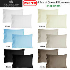 2 x QUEEN Size Pillowcases 250TC 54 x 80cm Fits Bamboo Pillows Logan & Mason