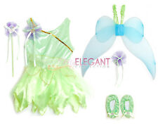 Disney Tinkerbell Fairy Halloween Costume Children Girls Gown Dress Tiara 3-9 Yr