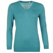 Ashworth Womens Ladies Merino V Neck Sweater Golf Knit Jumper Long Sleeve Top