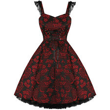 Ladies New H&R Red Floral Jacquard Gothic Vintage Boho 50s Evening Party Dress U