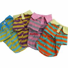 4 Colors Stripes Dog Polo Shirts Tee T-Shirt Pet Apparel Dog Clothes XS S M L XL