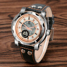 New FORSINING Mens Fashion Black Leather Auto Mechanical Wrist Watch Luxury Gift