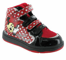 Disney Minnie Mouse Hi-Top Trainers Girls Kids Infants Hearts Ankle Shoes Boots