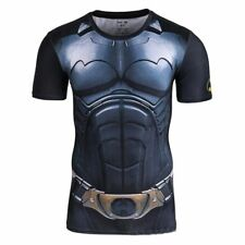 Men's Batman Marvel Comic Compression T-shirt Short Sleeve Gym Cycling Jersey