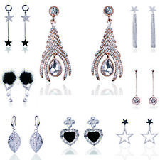 Women Gold Silver Filled Earring Crystal Drop Dangle Hook Stud Earrings Jewelry
