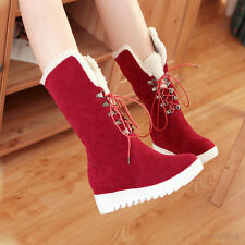 Womens Wedge Med Heel Hairy Warm Shoes Lace UP Mid Calf Boots US Size B1223
