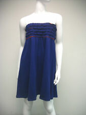 TRU Colors Navy Blue Orange Strapless Cecile Dress Ruffles Size XS L New NWT