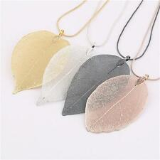 Charm Jewelry Unique Real Leaf Leaves Craft Pendant Sweater Long Chain Necklace