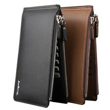 Men's Long Bifold Zipper Leather Wallet Billfold Wallet Purse Checkbook Clutch