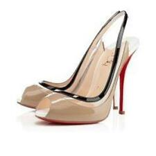 Christian Louboutin Gospel 120 Patent PVC Slingback Pump Heel Sandals Shoes $895
