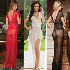 Women's Sexy Lace Perspective Underwear Long Dress Lingerie Nightwear G-String