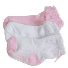 Robeez Mini Infant Girl's 3-Pairs Bow & Ribbon Light Pink Skid-Proof Socks