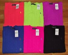 NEW Polo Ralph Lauren Womens Sweater Cableknit Crewneck Cashmere Merino Wool $98