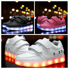 Boys Girls LED Lights Up USB Charger Velcro Sneakers 7 Color Change Kids Shoes