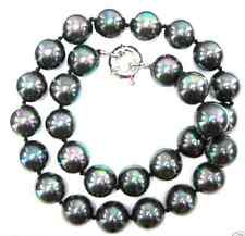 """8mm 10 12 14 16mm Rainbow Black Genuine South Sea Shell Pearl Necklace 18"""" AAA"""