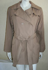 La Redoute Womens Beige Double Breasted 3/4 Raincoat Size 10/12 14/16 New