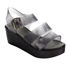 Refresh AC16 Women's Buckle Glitter Jelly Ankle Strap Wedge Platform Sandals