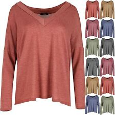 New Womens Ladies V Neck Fine Knit Lagenlook Layering Baggy Oversized Jumper Top
