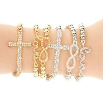 2/$10 Silver Gold Infinity Love Cross Rhinestone Crystal Stretch Adjust Bracelet