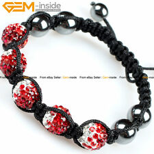 10mm Gradient Pave CZ Crystal Disco Ball Beads Hematite Bracelet, Free Gift Box