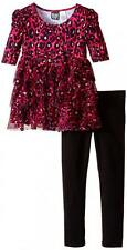 Pogo Club Girls Gracie-May Magenta Animal Print 2pc Legging Set Size 4 5/6 6X