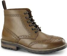 Red Tape DEVLIN Mens Leather Lace Up Comfort Smart Casual Brogue Derby Boots Tan