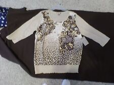Women's 3/4 Sleeves,Tan  Knit Pull Over Top Size XL by White Stag, NWT