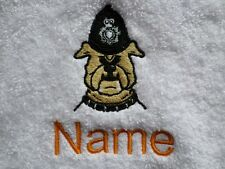 POLICE DOG logo Embroidered onto Towels, Bath Robes, Hooded Personalised name