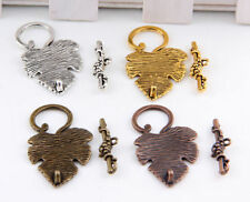 8/20Sets Tibetan Silver、Gold、Copper、Bronze Leaf  Toggle Clasps 37x24mm