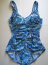 NWT MAXINE Shirred Minimizer Swim Bathing Suit Maillot Periwinkle Pearl