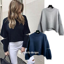 kn135 Celebrity Fashion Lookbook Crew Neck Elbow Zip Crop Knitted Sweater