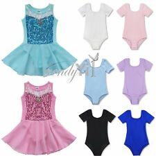 Girl Cotton Ballet Dance Gymnastics Skate Leotard Costume Short Sleeve Dancewear