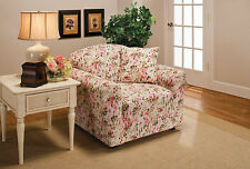 PINK FLORAL CHAIR COVER-ALSO COMES IN  SOFA COUCH LOVESEAT RECLINER FUTON SLIP